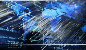 Fondo generado digitalmente representando un cÛdigo sobre un mapa del mundo